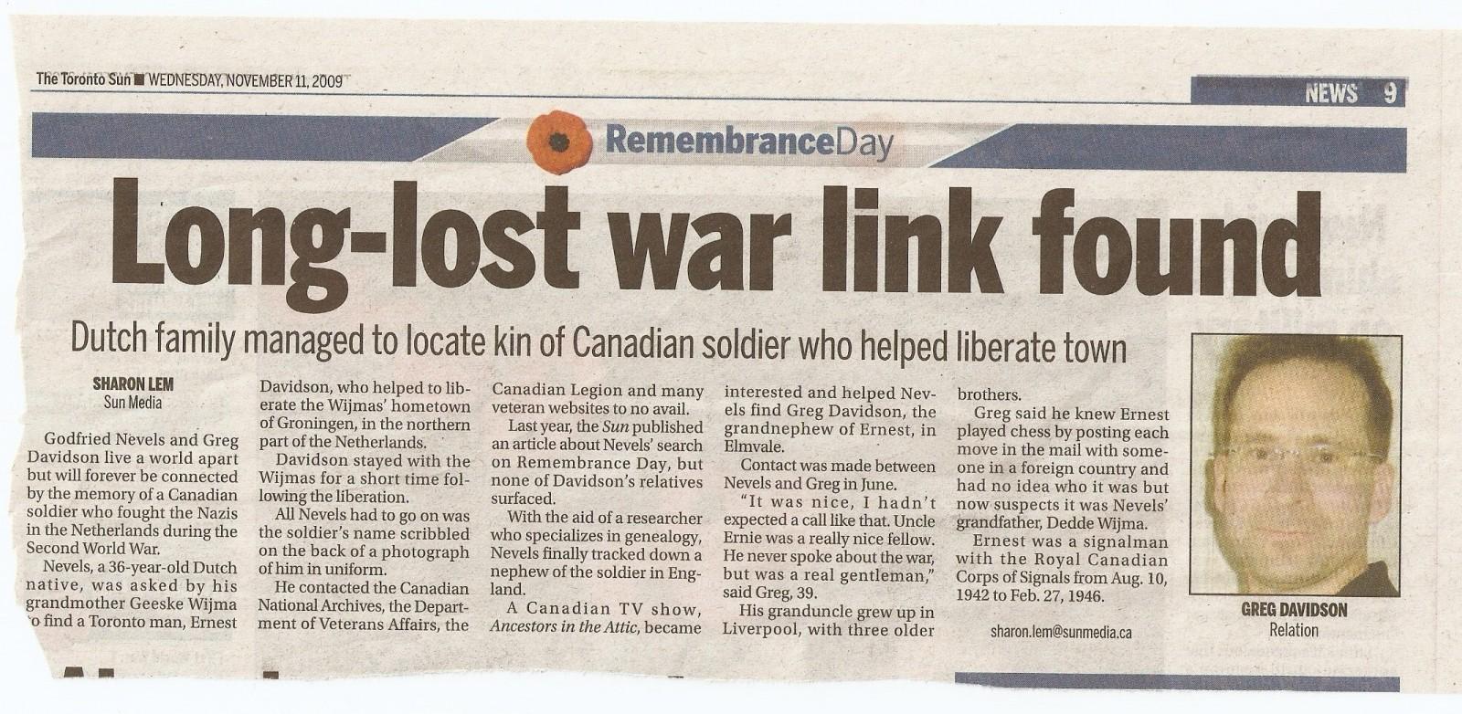 Artikel (2) Toronto Sun - 11 november 2009